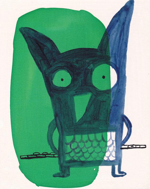 Hibou flutiste de la série des animaux musiciens crée par Nathalie Dieterlé