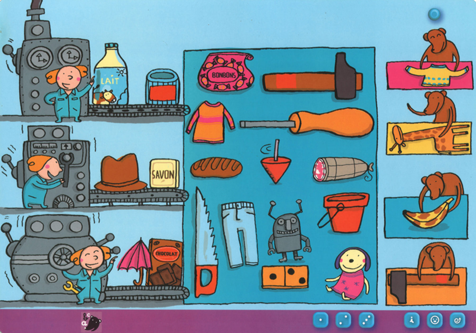 Illustrations de nathalie Dieterlé pour le jeux pour enfants Dokéo crée par Nathan Jeux.
