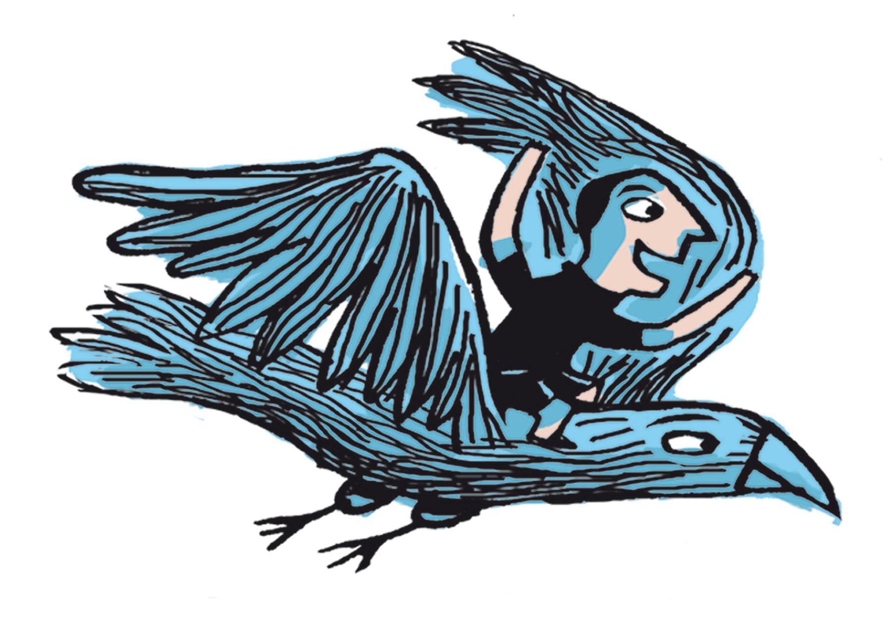 Illustration de Nathalie Dieterlé pour le magazine jeunesse Filotéo de Bayard Presse . On voit sur l'image une enfant juché sur un aigle.