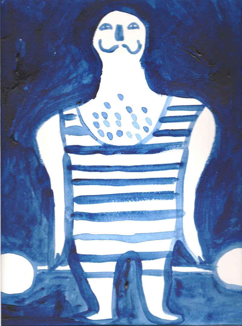 Image de Nathalie Dieterlé représentant un haltérophile réalisé dans le cadre d'une exposition sur le thème du cirque à l'occasition des portes ouvertes des ateliers d'artistes de Montreuil en 2016