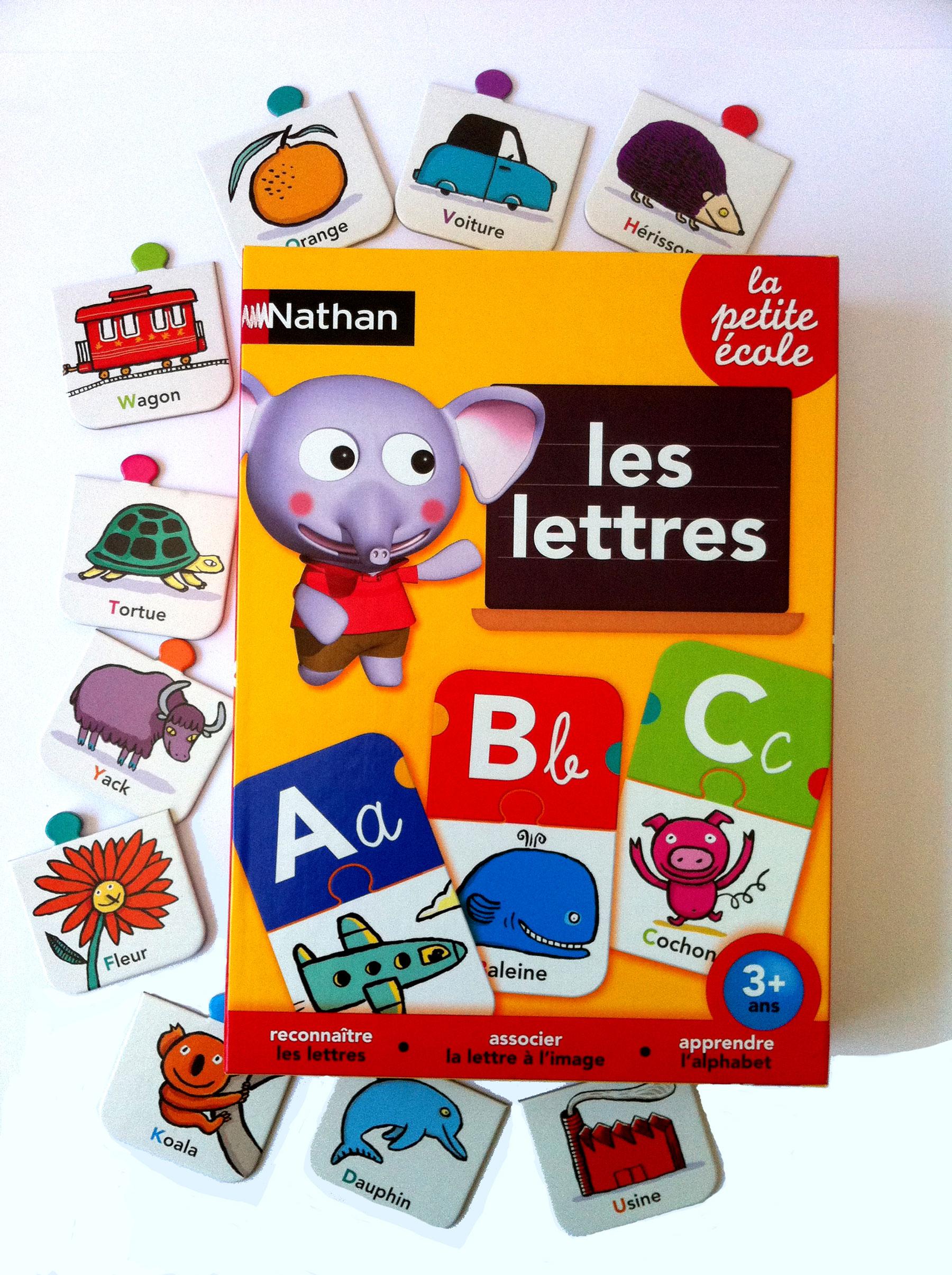 """Illustrations par Nathalie Dieterlé du jeux pédagogique """"Les lettres"""" crée par Nathan Jeux"""