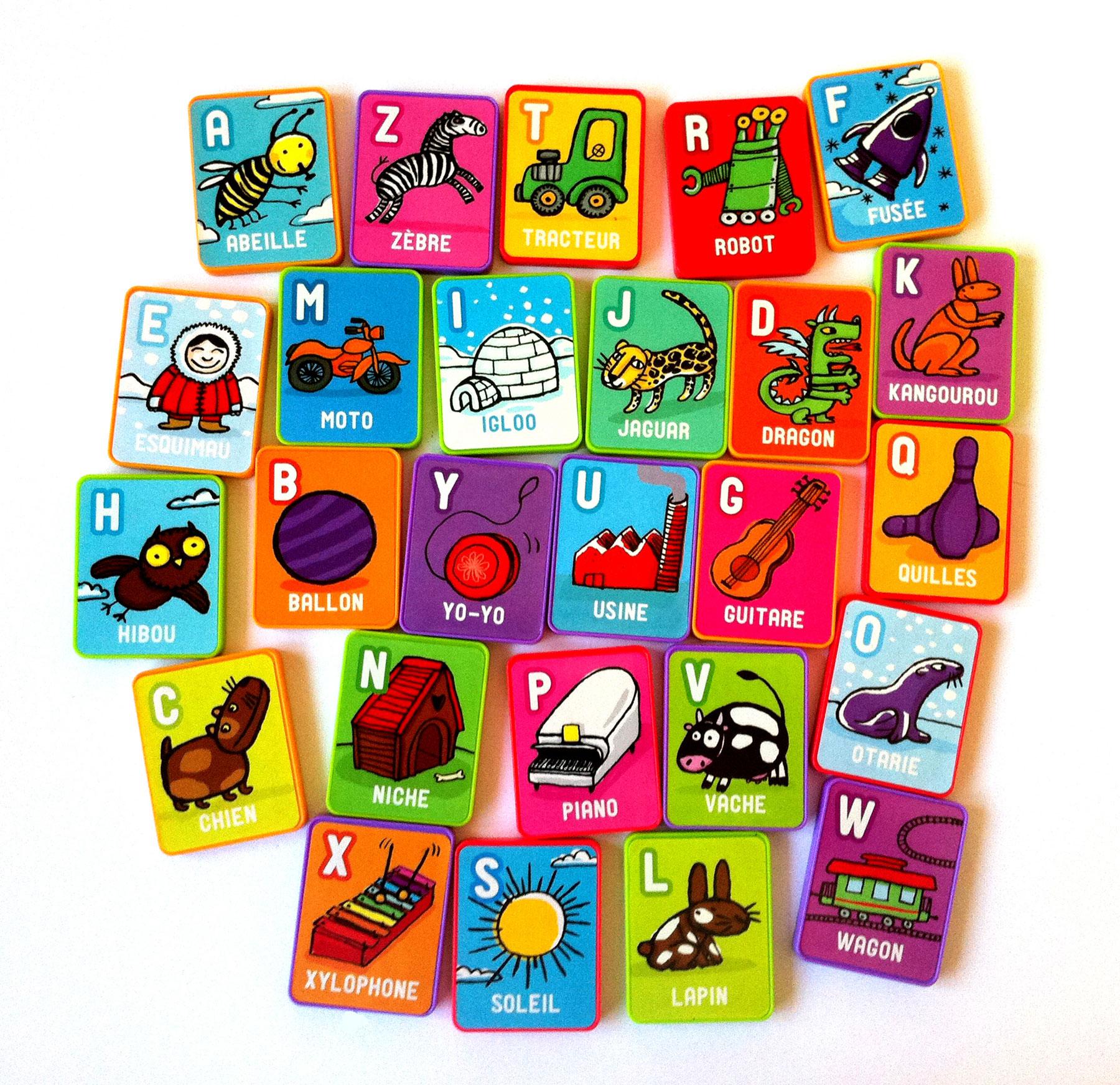 Illustrations par Nathalie Dieterlé du jeux pour enfants Bob Magnéto pour apprendre l'alphabet crée par Nathan Jeux