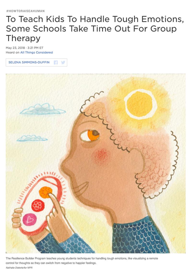 Article sur les thérapies de groupe pour adolescents illustré par Nathalie Dieterlé pour le magazine américain en ligne NPR