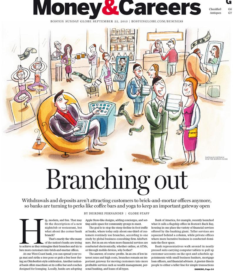 """Illustration de Nathalie Dieterlé pour le magazine américain """"Boston Globe"""" . Cette article parle des banques qui proposent des activitées à l'interieur de leurs locaux pour attirer le client."""