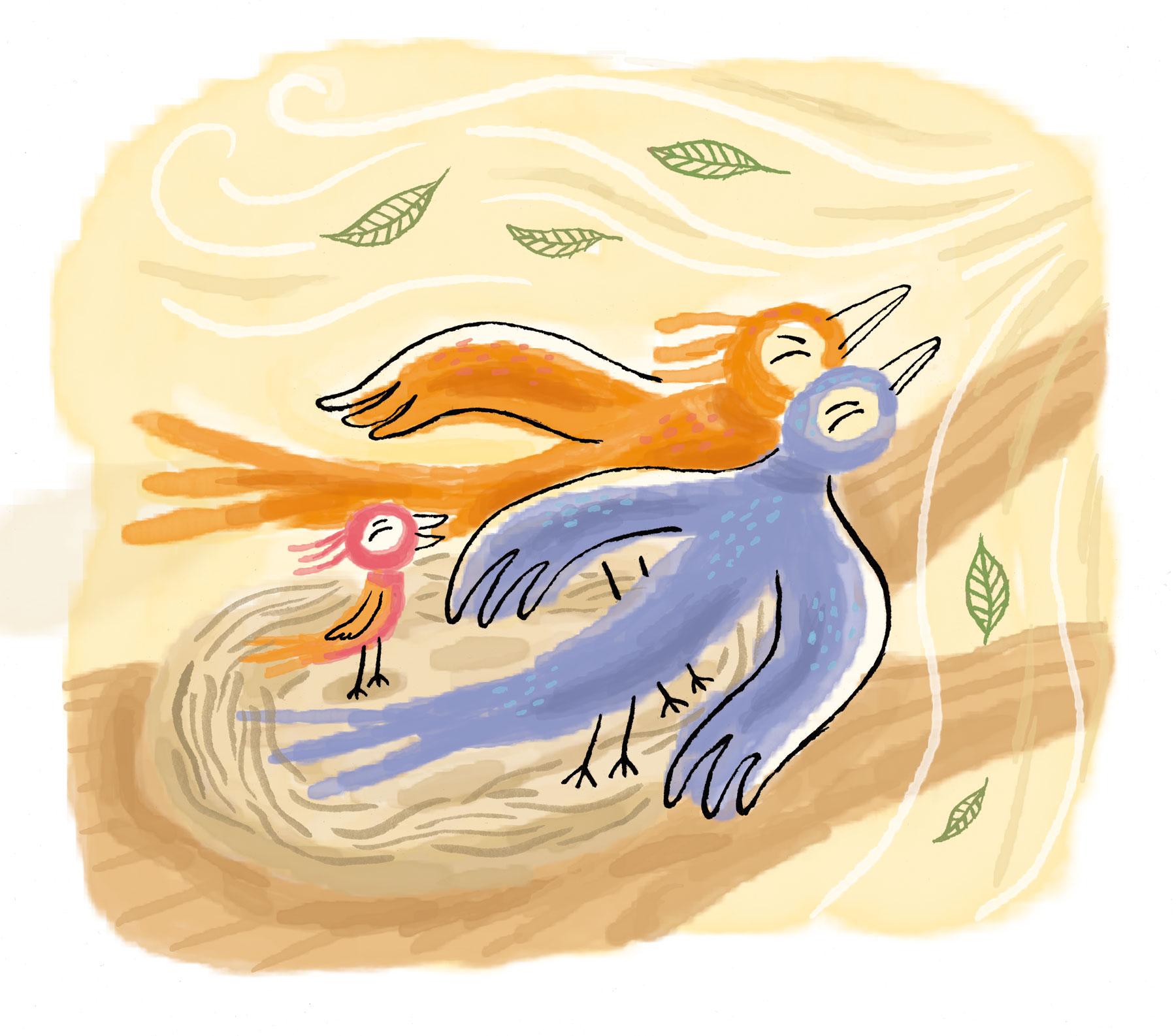 illustration de presse pour le magasine Pomme d'api soleil édité par Bayard Presse et illustré par Nathalie Dieterlé