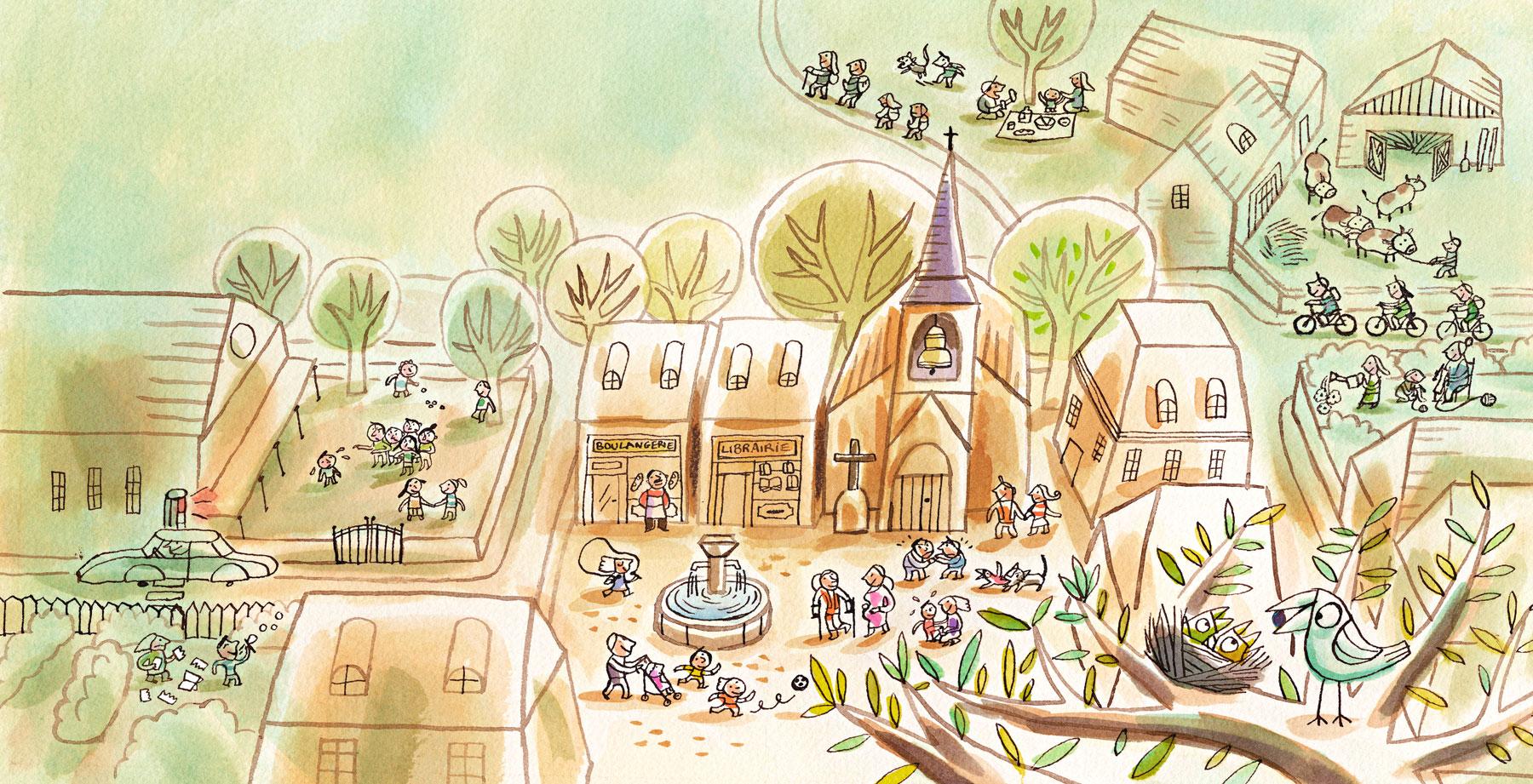 Illustration de Nathalie Dieterlé pour le magazine Pomme d'api soleil édité par Bayard Presse