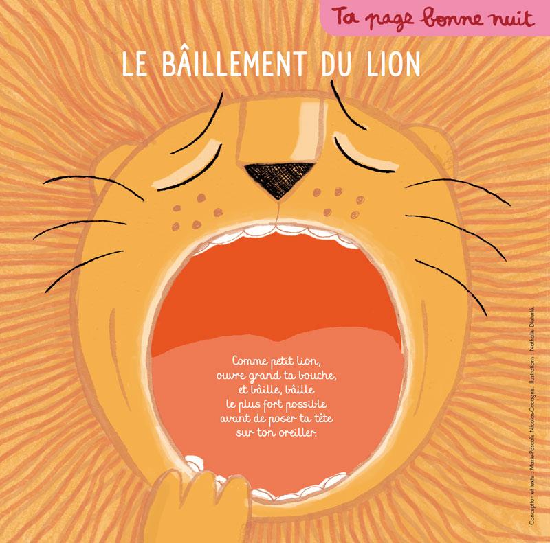 """Illustration réalisé par nathalie dieterlé pour la quatrième de couverture du magazine Pomme d'Api intitulé """"le baillement du lion"""" et édité par Bayard Presse"""